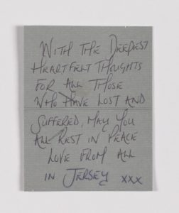 Sympathy message, Manchester Together Archive